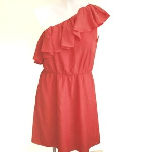Francesca's Ruffle One Shoulder Red Dress Medium